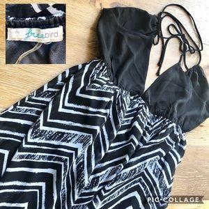 FREEBIRD black + white chevron maxi halter dress M